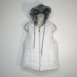 Jou Jou White Puff Vest With Removable Hoodie